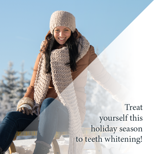 Woman smiling during winter with teeth as white as snow
