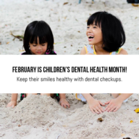 Children playing in the sand for children's dental health month