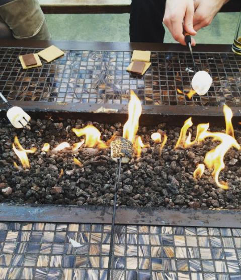 roasting marshmallows on a fire