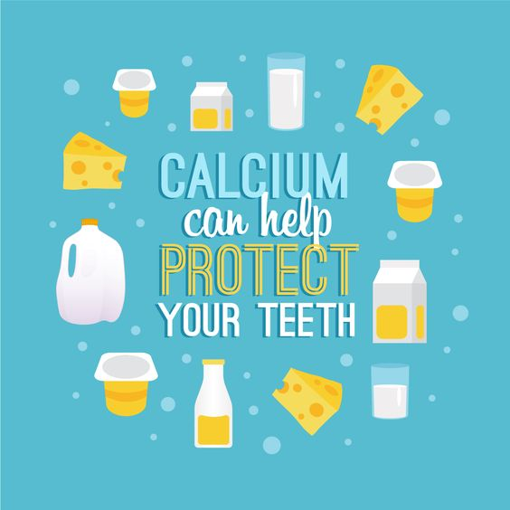A graphic with dairy products that are beneficial for teeth
