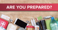 Image of items in an emergency preparedness kit
