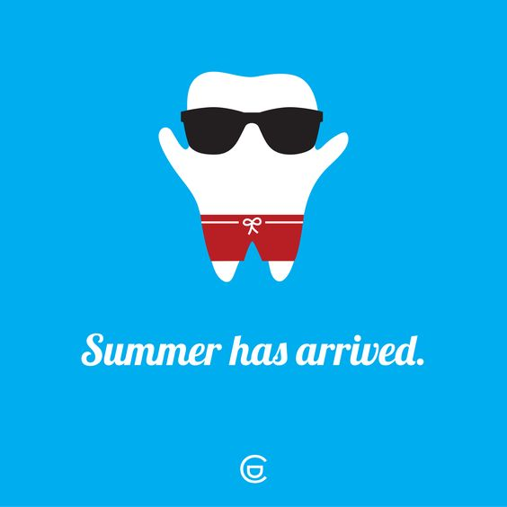 Tooth with sunglasses for summer dental